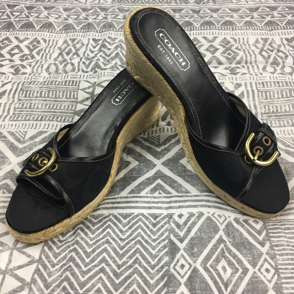 5715949660 Coach Shoes | Nwt Size 7 Korrin Wedge Black Gold Peep Toe | Poshmark